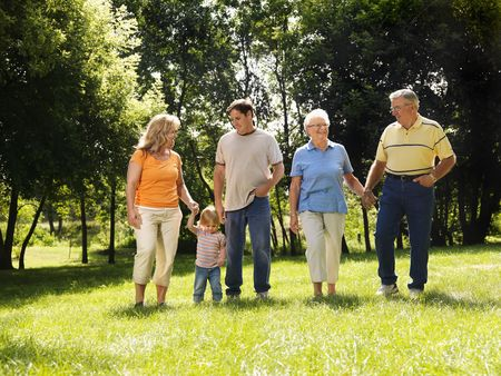 Three generation Caucasian family holding hands walking across grass in park smiling. Stock Photo - 1850226