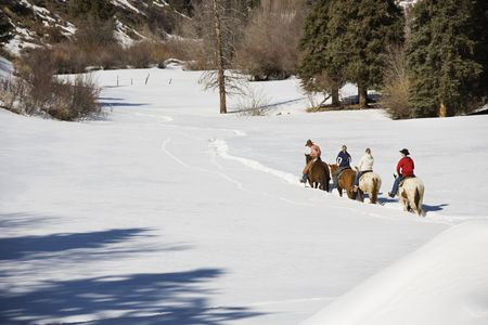 Small group of people horseback riding in snow covered landscape in Colorado, USA.
