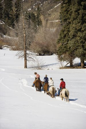 winter woman: Small group of people horseback riding in snow covered landscape in Colorado, USA.