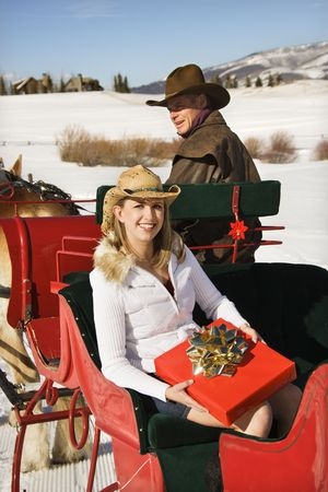Young Caucasian woman holding a present while man drives horse-drawn sleigh. photo