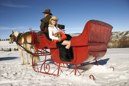 horse drawn: Young adult Caucasian woman holding present and mid-adult man in horse-drawn sleigh.