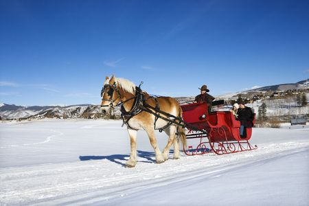 horse drawn: Young Caucasian couple and mid adult man on horse drawn sleigh ride through winter landscape.
