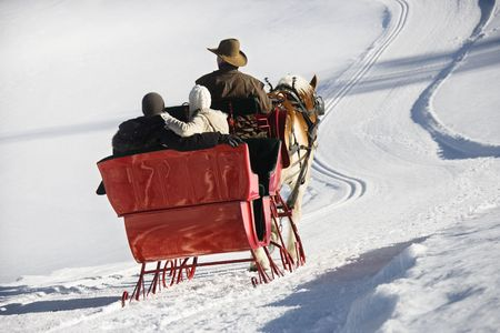 Rear view of Caucasian man and young couple riding in horse-drawn sleigh in snow.