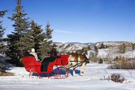 winter woman: Young Caucasian couple and mid-adult man in horse-drawn sleigh in snow. Stock Photo