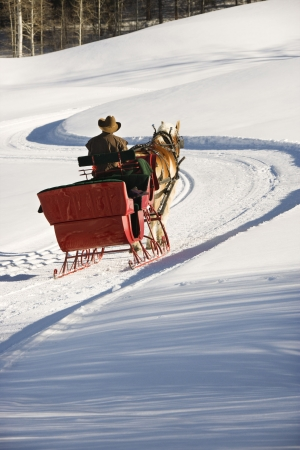 horse drawn: Rear view of man in horse drawn sleigh traveling a snow covered hill. Stock Photo