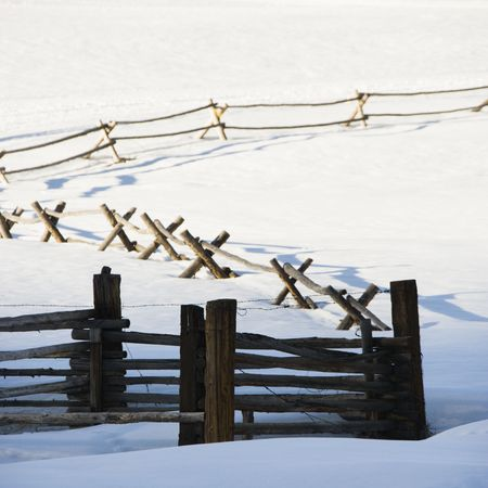 Fence in snow covered landscape.  photo