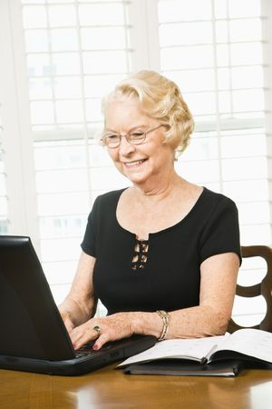 only one senior: Mature Caucasian woman using laptop in living room. Stock Photo