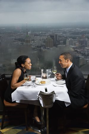 americas: African-American couple having dinner at the Tower of the Americas in San Antonio, Texas.
