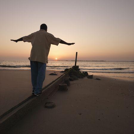 barrier: Man on sand barrier