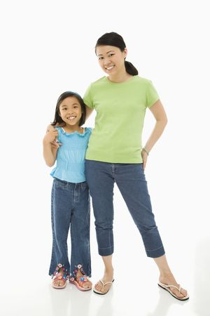 Asian mother and daughter standing with arms around eachother.