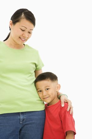 Asian mother standing with arm around son. Stock Photo - 1868920