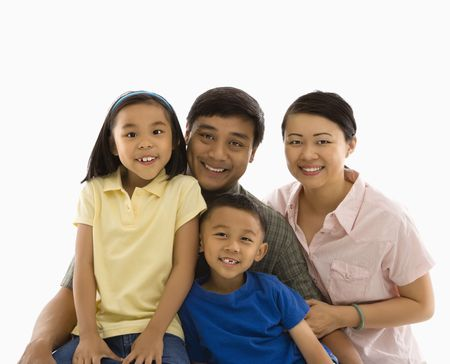 filipino people: Asian family portrait against white background.