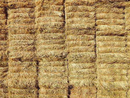 Close up shot of bales of hay, photo
