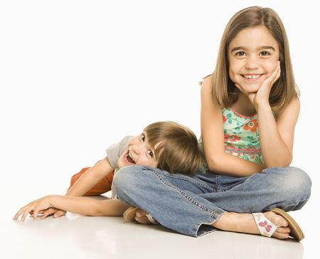 Portrait of girl and boy against white background. Stock Photo - 1874582