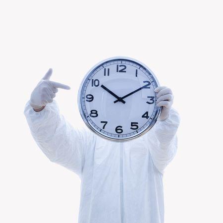 Biohazard man with clock. Stock Photo - 1920452
