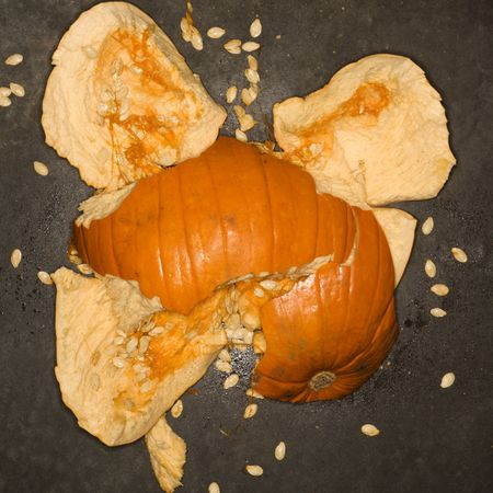 smashed: Pumpkin smashed on  concrete floor. Stock Photo