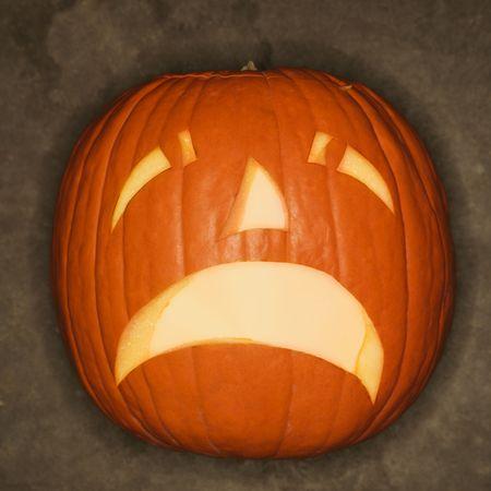Frowning Halloween jack-o'-lantern. Stock Photo - 1906730