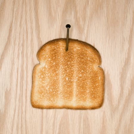 slice of toast nailed to wood stock photo picture and royalty free