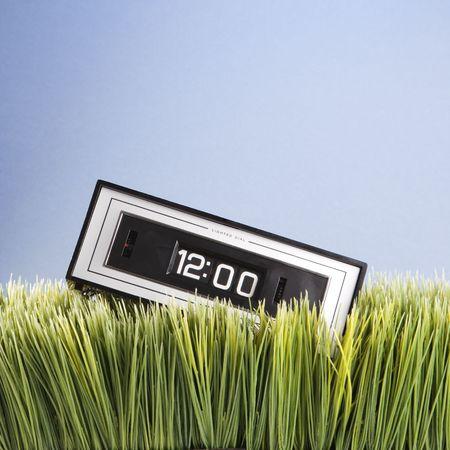 Studio shot of retro alarm clock placed in grass. Stock Photo - 1906607