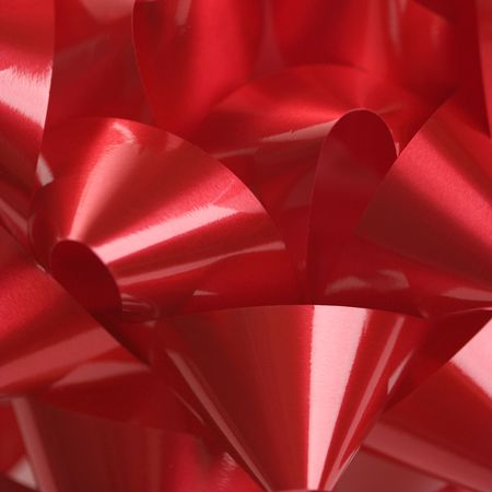 Close-up of big red Christmas bow. photo