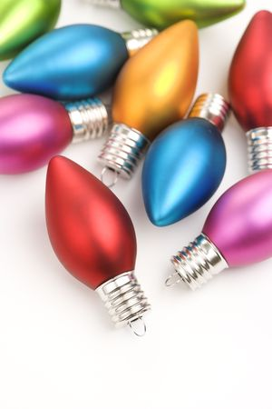 customs and celebrations: Still life of multicolored  Christmas ornaments.
