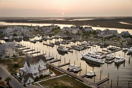 bald head: Aerial view of boats at marina on Bald Head Island, North Carolina. Stock Photo