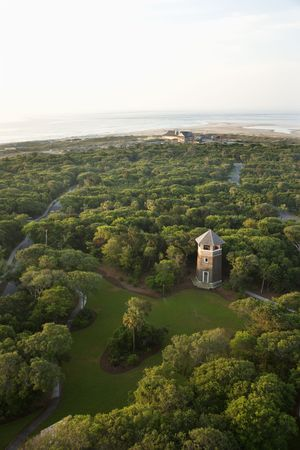 aerial photograph: Aerial view of tower and park on Bald Head Island, North Carolina. Stock Photo