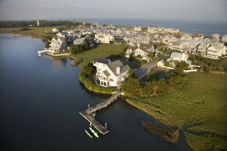 bald head island: Aerial view of coastal residential community on Bald Head Island, North Carolina.