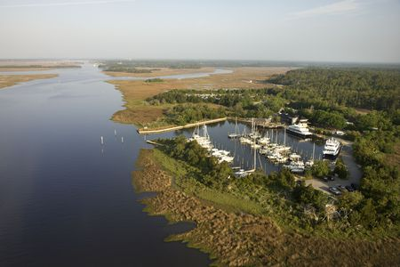Aerial view of marina in wetlands of Bald Head Island, North Carolina. photo