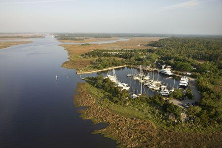 bald head island: Aerial view of marina in wetlands of Bald Head Island, North Carolina. Stock Photo