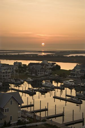 Aerial view of coastal community on Bald Head Island, North Carolina.  photo