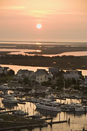 Aerial view of coastal village with marina on Bald Head Island, North Carolina.  photo