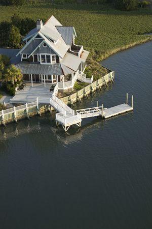 bald head island: Aerial view of waterfront home on Bald Head Island, North Carolina. Stock Photo
