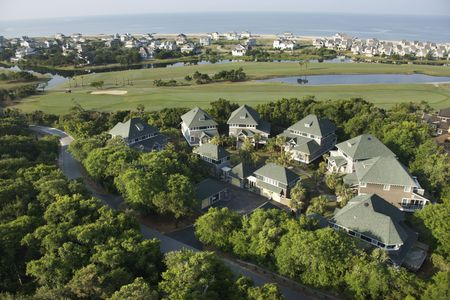 bald head: Aerial view of residential community on Bald Head Island, North Carolina.