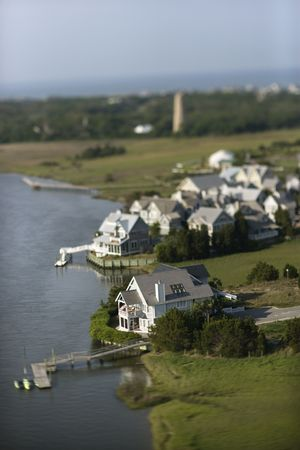 bald head island: Aerial view of residential area with docks on Bald Head Island, North Carolina.