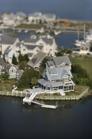 bald head island: Aerial view of residential community and docks on Bald Head Island, North Carolina.