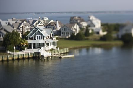 bald head: Aerial view of coastal community on Bald Head Island, North Carolina.  Stock Photo