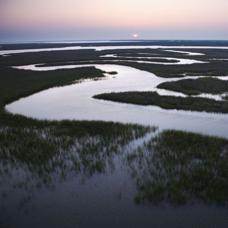 aerial photograph: Aerial scenic view of winding waterway in marshland at Baldhead Island, North Carolina.