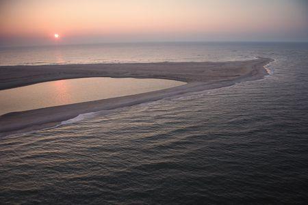 sandbar: Scenic aerial view of sandbar at Baldhead Island, North Carolina at dusk.