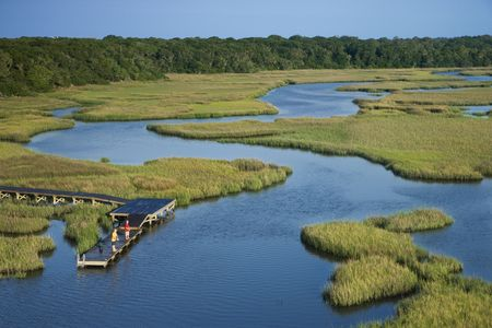 salt marsh: Aerial view of two teenage boys fishing from dock in marshy lowlands of Bald Head Island, North Carolina.