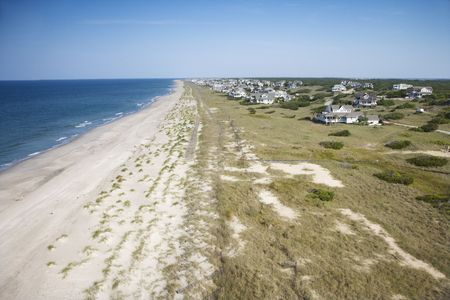 bald head island: Aerial view of beach and residential neighborhood at Bald Head Island, North Carolina. Stock Photo