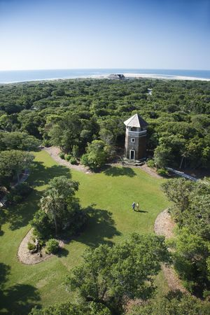 bald head island: Birds eye view of tower building in wooded park at Bald Head Island, North Carolina. Stock Photo