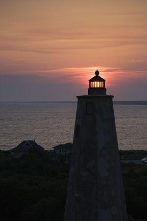 bald head island: Lighthouse at sunset on Bald Head Island, North Carolina.