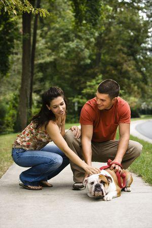 mid adult couple: Mediados de adultos de raza cauc�sica par petting Bulldog Ingl�s en la acera.  Foto de archivo