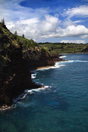 High angle view of rocky coastline in Maui, Hawaii. Stock Photo - 2029845