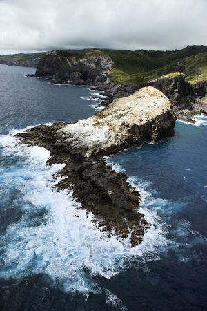 Aerial view of rocky cliffs on coastline of Maui, Hawaii. Stock Photo - 2044108