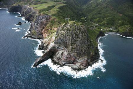 Aerial view of rocky cliffs on Maui, Hawaii coastline. Stock Photo - 2029644