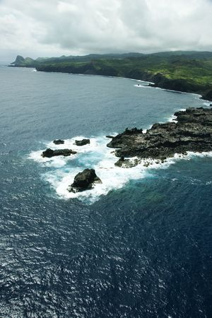 Aerial view of rocky coastline of Maui, Hawaii. Stock Photo - 2029471