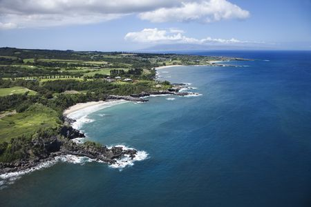 Aerial view of rocky coastline on Maui, Hawaii. Stock Photo - 2029750