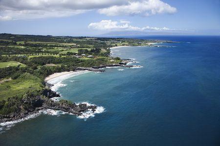 Aerial view of rocky coastline on Maui, Hawaii. Stock Photo - 2029750